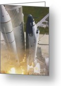 Space Ships Greeting Cards - Shuttle Lift-off Greeting Card by Science Source