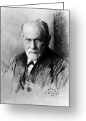 Freud Greeting Cards - Sigmund Freud, Father Of Psychoanalysis Greeting Card by Photo Researchers