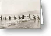 Roaring Twenties Greeting Cards - Silent Film Still: Bathers Greeting Card by Granger