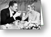 Film Still Photo Greeting Cards - Silent Film Still: Drinking Greeting Card by Granger