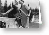 Lover Greeting Cards - Silent Film Still: Kissing Greeting Card by Granger