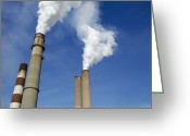 Pollute Greeting Cards - Smokestacks Billowing Smoke Greeting Card by Skip Nall