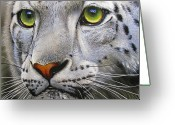 Green Eyes Greeting Cards - Snow Leopard Greeting Card by Jurek Zamoyski