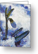 Blue_tit Greeting Cards - Snowdrop Greeting Card by Odon Czintos