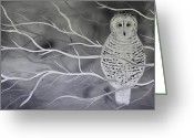 Snowy Night Greeting Cards - Snowy Owl Greeting Card by Preethi Mathialagan