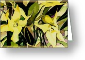 Spider Digital Art Greeting Cards - Spider Orchids Greeting Card by Mindy Newman