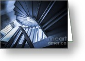 Staircase Greeting Cards - Spiral Stairway Greeting Card by Setsiri Silapasuwanchai