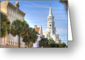 Historic Lighthouse Greeting Cards - St Michaels Church Charleston SC Greeting Card by Dustin K Ryan