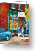 Store Fronts Greeting Cards - St. Viateur Bagel Shop Greeting Card by Carole Spandau
