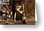 Hip-hop Greeting Cards - Street Phenomenon Drake Greeting Card by The DigArtisT