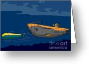 Warship Greeting Cards - Submarine Boat Retro Greeting Card by Aloysius Patrimonio