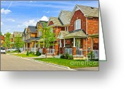 Neighborhood Greeting Cards - Suburban homes Greeting Card by Elena Elisseeva