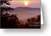 Interstate Greeting Cards - Summer Mountain Sunrise Greeting Card by Thomas R Fletcher