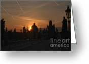 Karluv Most Greeting Cards - Sunrise Charles Bridge Greeting Card by Serena Bowles
