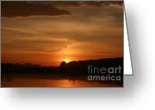 Nature Landscape Pyrography Greeting Cards - Sunrise on the River Greeting Card by Torsten Dietrich