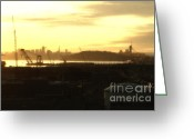 Port Of San Francisco Greeting Cards - Sunset Over San Francisco Skyline Through The Port of Oakland . 7D11028 Greeting Card by Wingsdomain Art and Photography