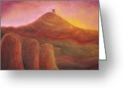 Tor Painting Greeting Cards - Sunset over the Tor Greeting Card by Ruth Kelland