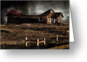 Abandoned Houses Digital Art Greeting Cards - Swayback Greeting Card by Jon Burch Photography