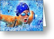 Kick Digital Art Greeting Cards - Swimmer Greeting Card by Stephen Younts