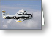 Trojan Greeting Cards - T-28 Trojan Trainer Warbird In U.s Greeting Card by Daniel Karlsson