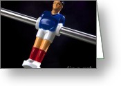 Game Piece Greeting Cards - Tabletop soccer figurine Greeting Card by Bernard Jaubert