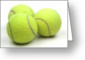 Curve Ball Greeting Cards - Tennis balls Greeting Card by Blink Images