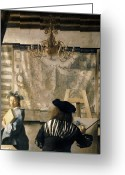 Easel Greeting Cards - The Artists Studio Greeting Card by Jan Vermeer
