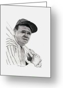 Red Sox Drawings Greeting Cards - The Bambino Greeting Card by Bob Garrison