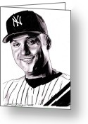 New York Yankees Greeting Cards - The Captain Greeting Card by Jason Kasper