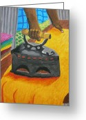 Old Wall Pastels Greeting Cards - The Dhobis Iron  Greeting Card by Adam Wai Hou