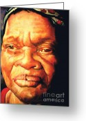 Realistic Pastels Greeting Cards - The Gaze Of Mother Witt Greeting Card by Curtis James