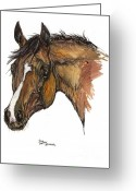 Bay Drawings Greeting Cards - The Horse Portrait Greeting Card by Angel  Tarantella