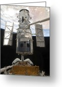 Space Travel Greeting Cards - The Hubble Space Telescope Is Released Greeting Card by Stocktrek Images