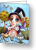 Pocket Painting Greeting Cards - The mad hatter Greeting Card by Lucia Stewart