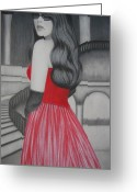 Long Gloves Greeting Cards - The Red Dress Greeting Card by Lynet McDonald