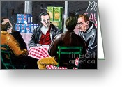 New York City Painting Greeting Cards - The Sit Down Greeting Card by David Tuminello