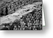 Qin Shi Huang Greeting Cards - The Terracotta Army Greeting Card by Sami Sarkis