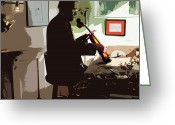 Violin Digital Art Greeting Cards - The Violin Shop Greeting Card by Steven  Digman