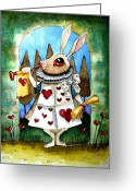 Stewart Greeting Cards - The white rabbit Greeting Card by Lucia Stewart