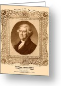 American President Drawings Greeting Cards - Thomas Jefferson Greeting Card by War Is Hell Store