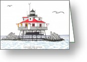 Historic Lighthouse Drawings Greeting Cards - Thomas Point Shoal Lighthouse Greeting Card by Frederic Kohli