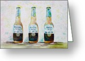 Corona Greeting Cards - Three Amigos Greeting Card by Barbara Teller