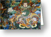 Tibetan Buddhism Greeting Cards - Tibetan Buddhist Mural Greeting Card by Michele Burgess