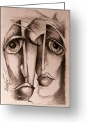 Monotone Painting Greeting Cards - Together Greeting Card by Michael Lang