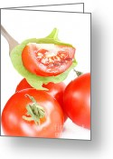 Green. Organic Greeting Cards - Tomatoes Greeting Card by HD Connelly