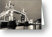 Tower Of London Greeting Cards - Tower Bridge at Night Greeting Card by Dawn OConnor