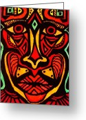 Maori Prints Greeting Cards - Tribal mask Greeting Card by Gerri Rowan