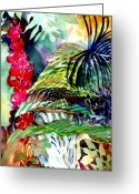 Rain Drawings Greeting Cards - Tropical Waterfall Greeting Card by Mindy Newman