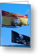 Cross Bones Greeting Cards - Two Flags Greeting Card by Patricia Januszkiewicz