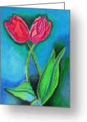 Tulips Pastels Greeting Cards - Two Tulips Greeting Card by Christine Perry
